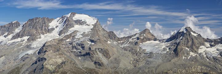 Valsavaranche, Aosta Valley, Italy: The west side of Gran Paradiso mountain range. From left: Gran Paradiso (4,061 m - 13,323 ft), Tresenta (3,609 m - 11,840 ft), Ciarforon (3,640 m - 11,942 ft).