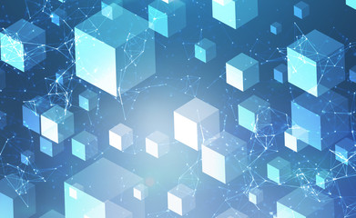 Cubes background and polygonal network interface