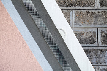 Exterior insulation finishing system sample close-up. External thermal insulation cladding demo model