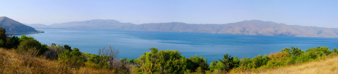 Panoramic view of Lake Sevan, Armenia