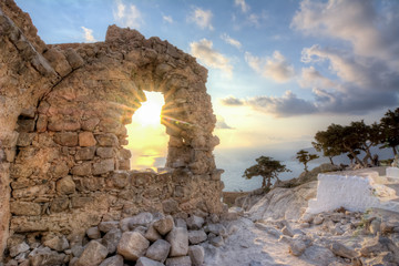 Sunset at Monolithos castle, Rhodes island, Greece