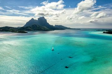 Bora Bora wyspa Polinezja Francuska laguny widok z lotu ptaka