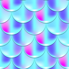 Mermaid fish scale seamless pattern with holographic effect. Iridescent mermaid vector background. Violet blue pattern