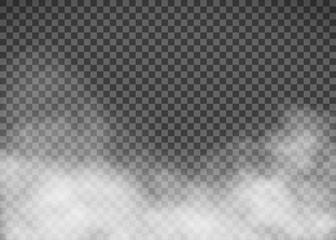 Biały dym na przezroczystym tle. Szablon mgła.