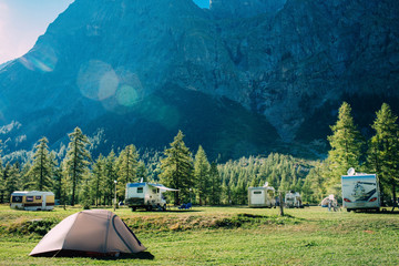 tourist tent in mountains camping at Italy, active resting