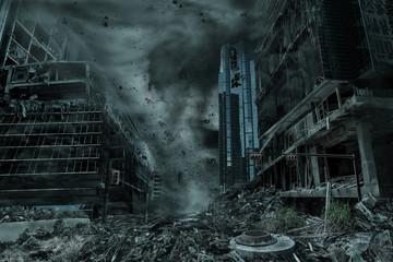 Przedstawienie miasta zniszczonego przez huragan, tajfun lub tornado