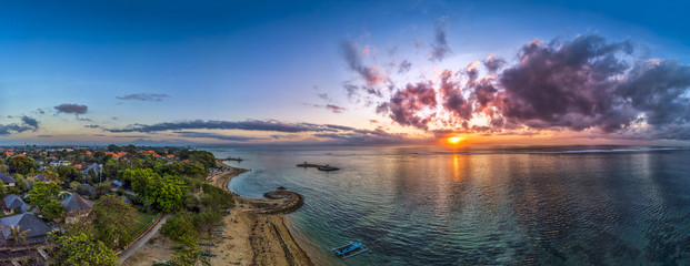 Sanur Beach in sunrise with Traditional Balinese Fishing Boats, Bali, Indonesia..