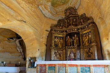 Altar of the rock church of Saints Justo and Pastor, Olleros de Pisuerga, Palencia province, Spain