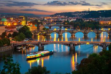 Illuminated bridges in Prague