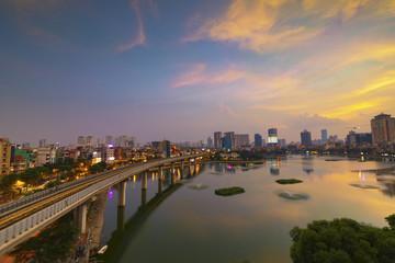 Hanoi cityscape in sunset