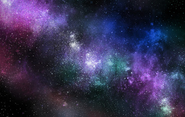The Galaxy is covered with a violet-blue atmosphere and the clouds are spinning