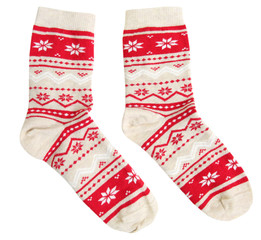 Pair socks winter holiday ornaments isolated.