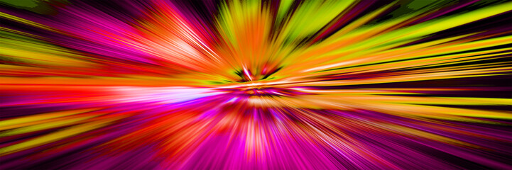Blurred motion.Hyperspace motion in galaxy. Concept of  intergalactic travel. Starburst. Outer space. Multicolor abstract pattern. Panoramic illustration