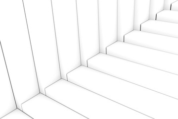 Black and white abstract background stairs box 3d illustration
