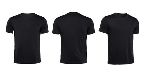Black T-shirts front ,back and side view isolated on white