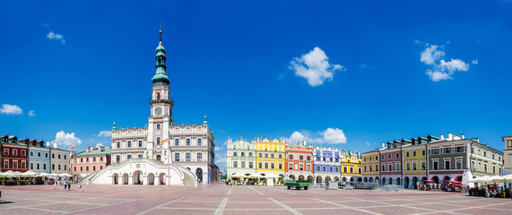 main square of the old part of Zamosc in Poland. Large panorama
