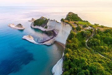 Beautiful view of Cape Drastis in the island of Corfu in Greece