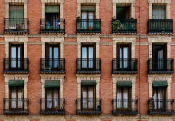 Traditional housing building in Lavapies in Madrid