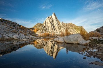 Reflection at Prusik Peak in the Enchantments - fall color