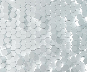 Abstract White Hexagon Pattern Blocks Wall Background