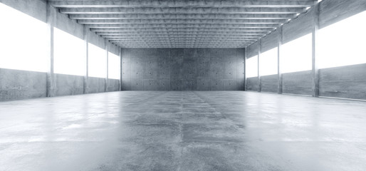 Modern Huge Concrete Material Empty Hall With Many Columns And Big White Glowing Windows Wallpaper Space For Text 3D Rendering