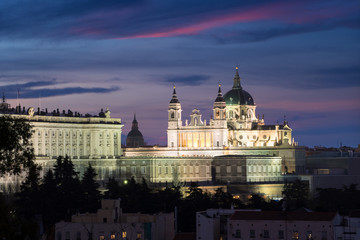 Almudena Cathedral (Santa Maria la Real de La Almudena) is a Catholic church in Madrid, Spain at night. It is the seat of the Roman Catholic Archdiocese of Madrid.