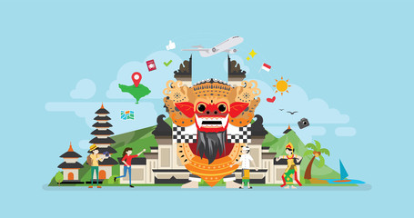 Bali Tropical Island Tourist Attraction Tiny People Character Concept Vector Illustration, Suitable For Wallpaper, Banner, Background, Card, Book Illustration, And Web Landing Page