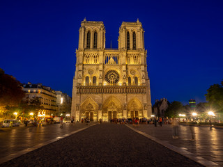 Notre Dame de Paris, France at dusk