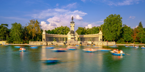 The Retiro Park is located downtown Madrid, Spain. It belonged to the Spanish Monarchy until the late 19th century, now it is a public park.
