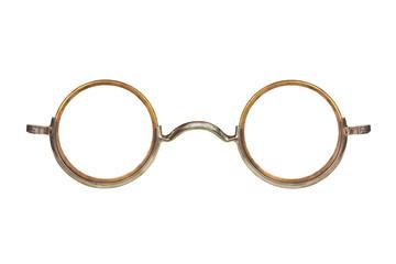 Roczników kółkowi eyeglasses odizolowywający na bielu