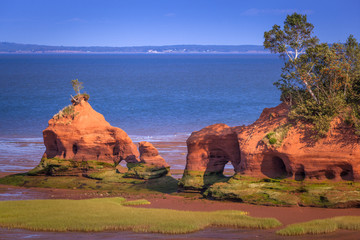 Sandstone formations in Bay of Fundy, Nova Scotia, Canada