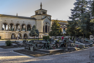 Old monumental cemetery in Milan