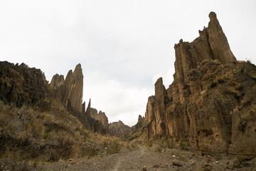 Valley of Rock Cliffs in La Paz Bolivia