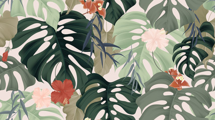 Floral seamless pattern, tropical plants, split-leaf Philodendron plant, hibiscus flowers, Weeping Willow leaves and Bougainvillea flowers on light pink background, pastel vintage theme