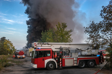 Fire truck during fire fighting operation, Szczecin, Poland