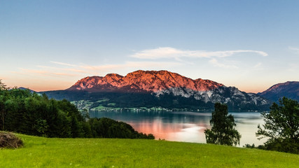 scenery at an austrian lake, attersee