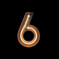 Number 6, Alphabet made from Neon Light with clipping path. 3D illustration