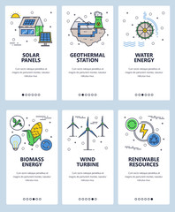 Vector web site linear art onboarding screens template. Renewable alternative energy sources and power plants. Menu banners for website and mobile app development. Modern design flat illustration.