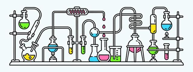 Chemistry lab banner. Outline illustration of chemistry lab vector banner for web design
