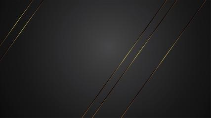 luxury black background banner vector illustration with gold strip art deco line for banner