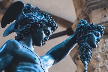 Bronze statue of Perseus holding the head of Medusa in Florence, Piazza della Signoria square, made by Benvenuto Cellini in 1545