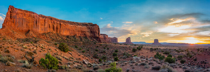 Mitchell Butte is a prominent formation near the Visitor's Center at Monument Valley Tribal Park.