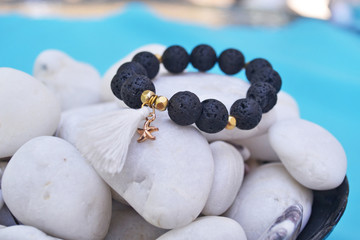 stylish bracelet with black volcanic beads - semi precious stones jewelry
