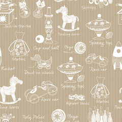 Vintage traditional wooden toys illustrations on kraft paper seamless vector pattern background.