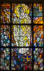 Chełm, Poland, 10 September 2018: Stained glass window with the image of Saint Pope John Paul II in the window of the church, the shrine of Our Lady in Chełm