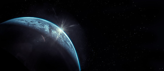 Part of earth with sun rise and lens flare background, Internet Network concept, Elements of this image furnished by NASA.