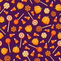 Vector seamless pattern with Halloween candies on a purple background.