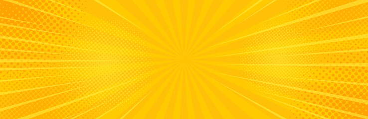Vintage pop art yellow background. Banner vector illustration