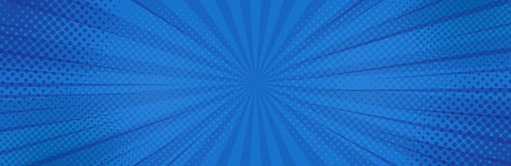 Vintage pop-artu niebieskie tło. Ilustracja wektorowa transparent