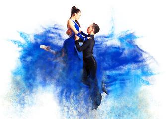 Tańcząca sala balowa. Efekt kolorowego pyłu